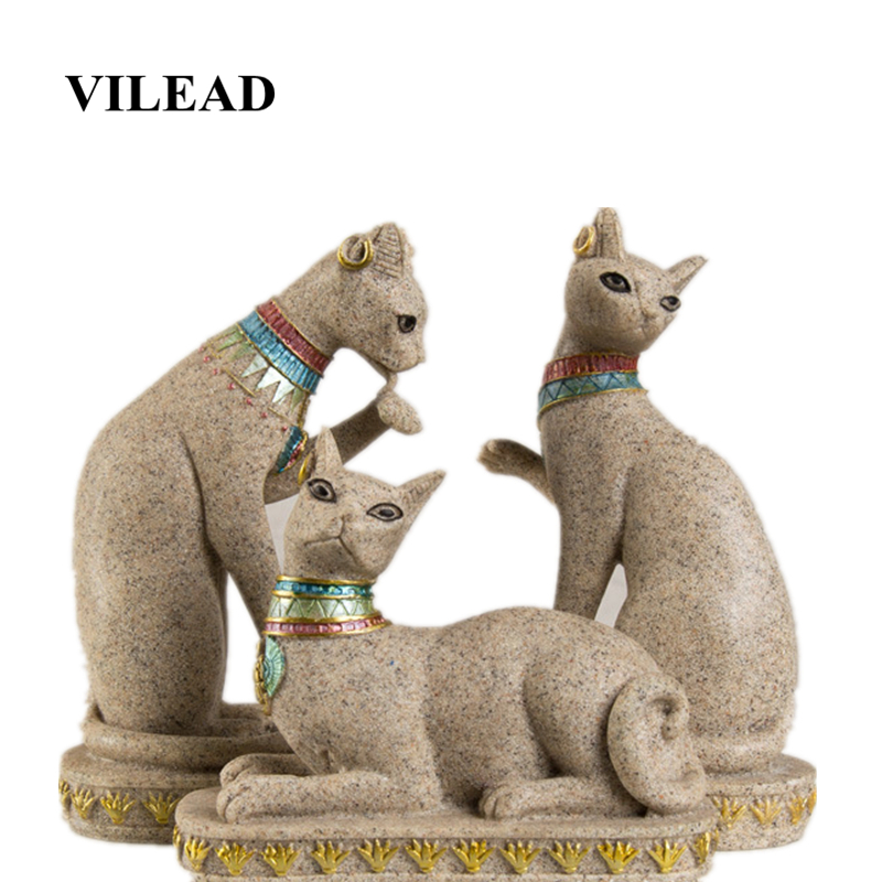 VILEAD Sandstone Egypt Cat Statue Religious Fengshui Figurines Animal Statuettes Creative Vintage Home Decor Cat Sculpture Gifts