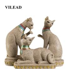 VILEAD Sandstone Egypt Cat Statue Religious Fengshui Figurines Animal Statuettes Creative Vintage Home Decor Sculpture Gifts