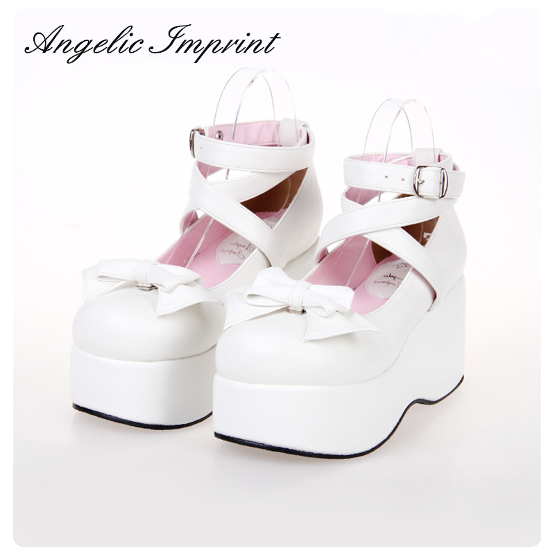 Japanese Sweet Princess Lolita Cosplay Shoes Buckle Ankle Strap Thick Platform Wedge Women Pumps BIG SIZE lovely smilling kitty face faux wooden wedge lolita shoes ankle strap sweet pink girls shoes