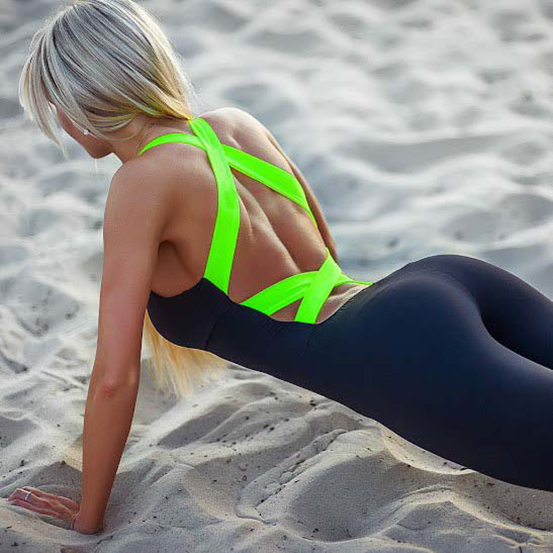 Women Sexy Backless One-piece Gym Fitness Sports Yoga Sets Overall Running Jogging Dancing Tights Jumpsuits