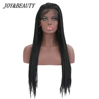 JOY&BEAUTY 26 Inch Synthetic Lace Front Wig box braids Twist braids Wig Adjustable Black High Temperature Fiber For Black Women