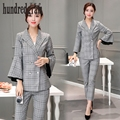 Leisure suit suit women 's new European and American self - cultivation suit plaid two - piece suit-dod253