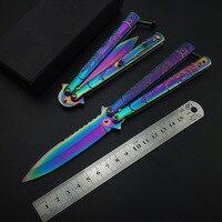 Cor de arco-íris titânio cs go  borboleta  faca dobrável  lâmina de presente  faca de treinamento  prática  faca  não afiada