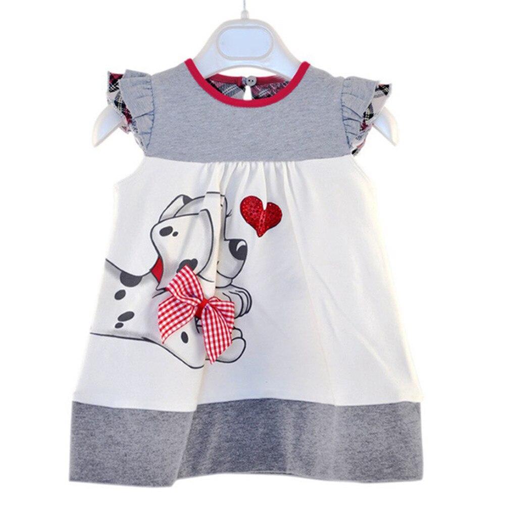 Платье для маленьких девочек Vestidos Mujer летняя детская одежда из хлопка платья Monsoon собака HART детей Костюмы для девочек комплект для девочек