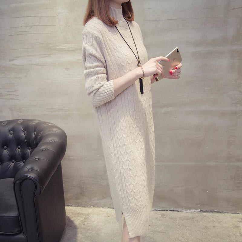 ffc49a29043 ... Women Winter Knit Dresses 2018 Europe Long Sleeve Turtleneck Casual  Slim Warm Maxi Sweater Dress Plus ...