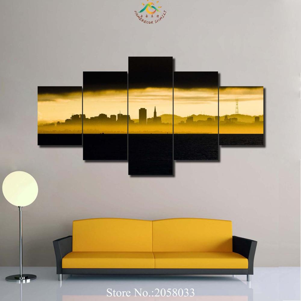 3 4 5 Pieces Black Sky City View Pictures Modern Home Decor Wall Art ...