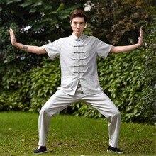 Top Quality Linen kung fu suit short sleeve Tai Chi uniform Wushu Clothing Kungfu Shirt + Pants Set 4 Color