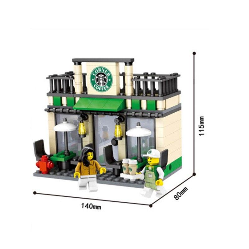 HSANHE City Series Mini Street Store Shop Figure Blocks Christmas Gift Construction Building Bricks Toys For Children 1