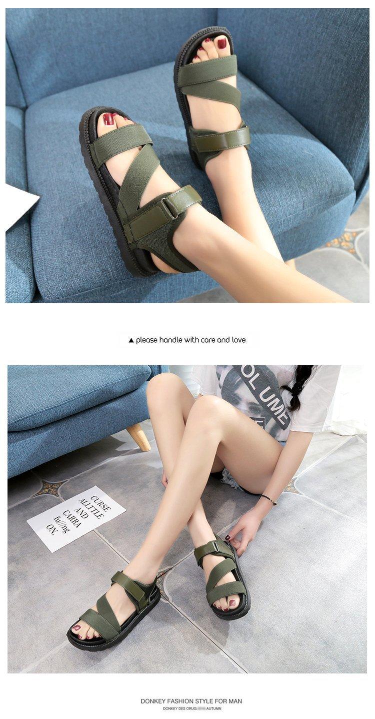 Summer Sandalias Mujer 2019 Shoes Woman Classics Gladiator Hook Loop Sandals Women Shoes Casual Flat Platform Block Heel Shoes 17