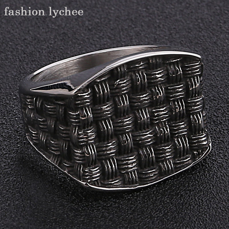 fashion lychee Punk Rock Titanium Enamel Grid Pattern Signet Biker Ring Men Retro Finger Rings Jewelry Accessories
