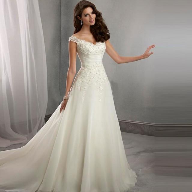 Vintage Wedding Dresses V neck organza wedding dresses A Liine Lace ...