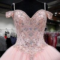 Розовое роскошное бальное платье пышные платья 2018 плюс размер сексуальное выпускное нарядное платье с бусами Vestidos de Debutante платья Ballkleid