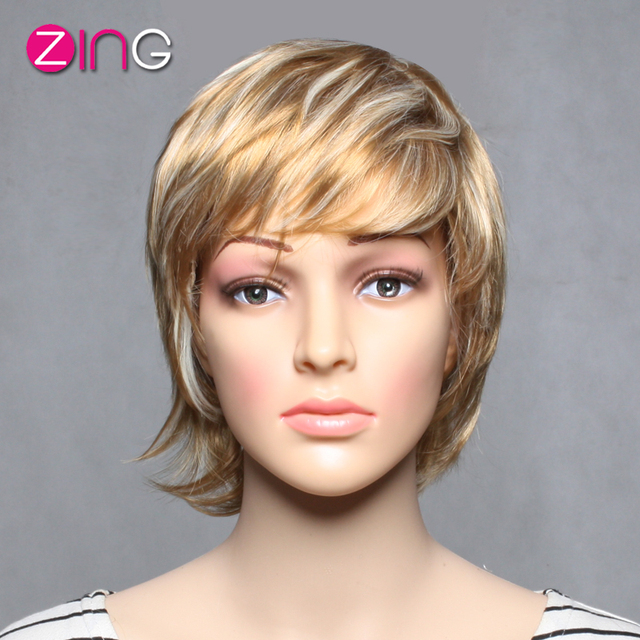 Synthetic Short Wigs Blonde Straight Wig Zing Hair Poroduct Blonde