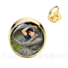 Ivy Art Picture Rings Alphonse Mucha Jewelry Glass Cabochon Neoclassical Flower Best Gifts For Friends(China)