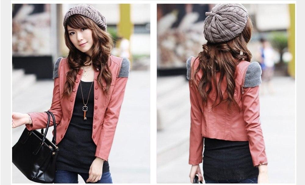 New fashion O Neck Korea style women PU short leather jacket, Slim ...