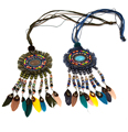 New handmade Bohemia Boho beads long fringe pendant Maxi Necklace colorful beaded chain tassel feather pendants Necklaces
