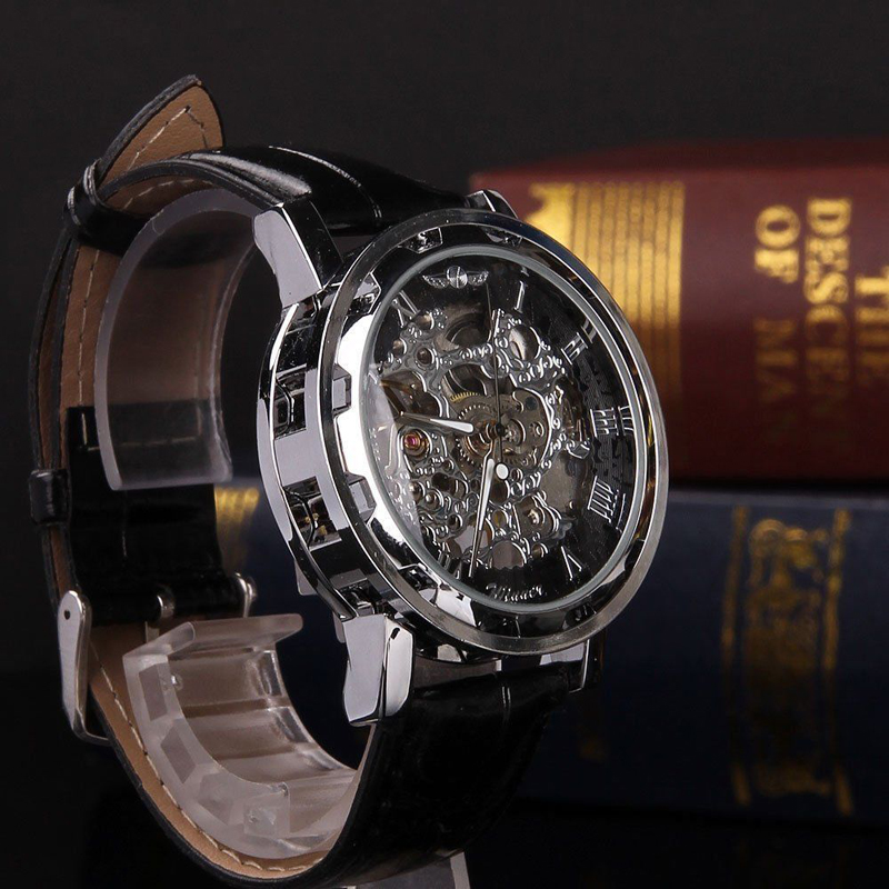 Shellhard1pc Men\'s Luxury Black Skeleton Leather Watch Sport Automatic Mechanical Stainless Steel Wrist Watch Montre Homme