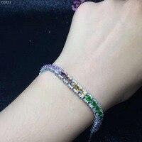 925 пробы серебро турмалин браслет для Для женщин натуральный Цвет драгоценных камней 3x4 мм
