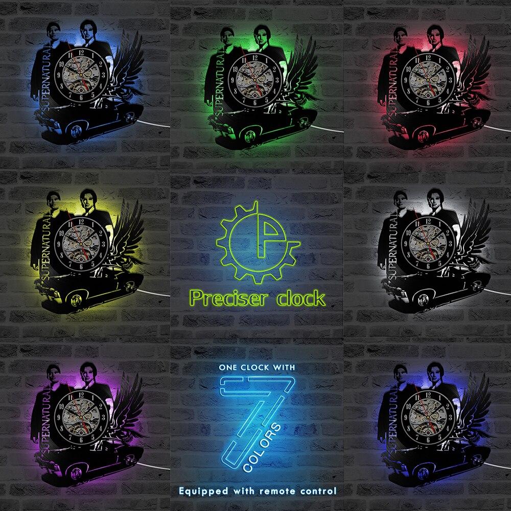 Supernatural Theme LED Record Clock 3D Black Flying Car Shape Vinyl Wall Clock Creative&Antique Style Hanging Clock