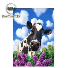 FineTime Diy 5D Diamond Embroidery Love Cow Animal DIY Mosaic Picture Living Room Icon Painting Butterfly Flower