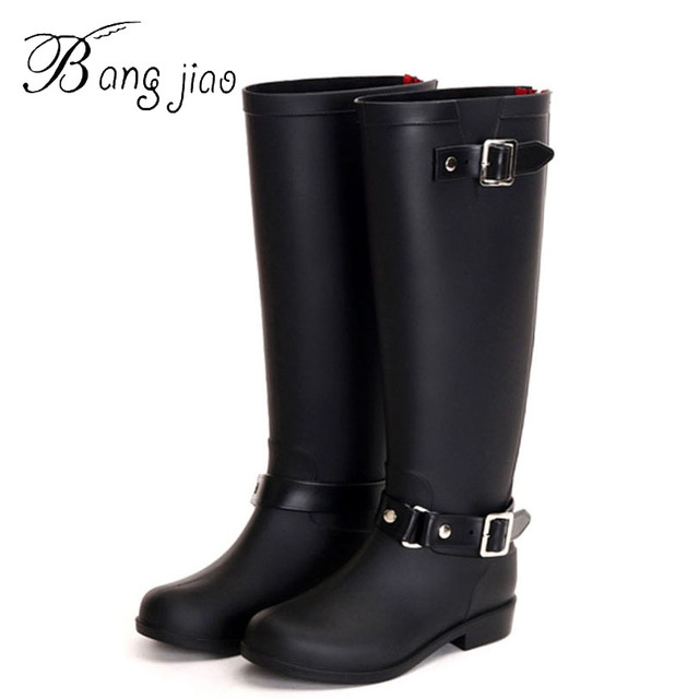 6069c9d8862 2016 New Fashion Women Rain Shoes Punk Style Heel Riding Boots Zipper  Knight Over The Knee Boots Shoes Woman Large Size 41 D0987