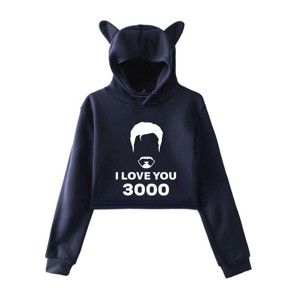 Kawaii أحبك 3000 هوديس المنتقمون Endgame المتناثرة القط هوديي بلوزات الوردي النساء عارضة البلوز الصيف المحاصيل قمم