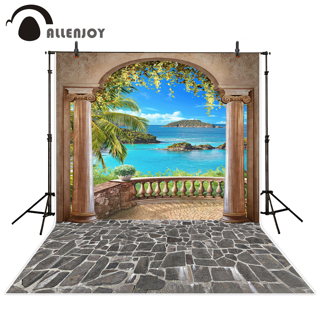 Allenjoy scenery photography background balcony island sea stone photographer Arch aesthetic scenery Photo Backdrop photographer kate photo background scenery
