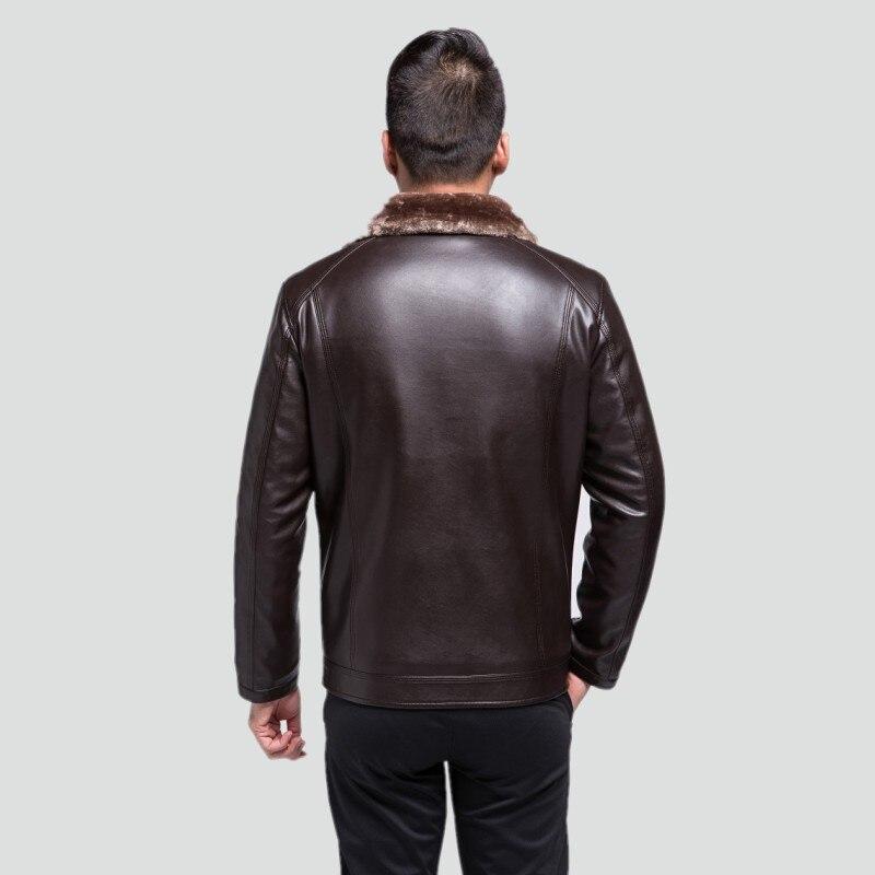 D'âge Mâle Manteau Vêtements Cuir Velours En marron Épais Veste D'hiver Noir Fourrure Mode 1782 Homme Moyen Nouvelle De 6v8wXSWF