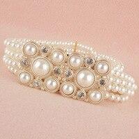 Elegant Women Beads Rhinestones Stretch Belt Diamante Crystals Elastic Waistband BLTLL0082