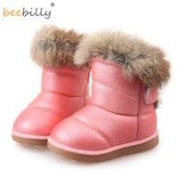 Dzieci Buty Gumowe Buty Zimowe Dla Dzieci Dziewczyny Zagęścić Pluszowe Śnieg buty Skórzane Krótkie Dziecko Niemowlę Dziecko Ciepłe białe buty 21-30 S