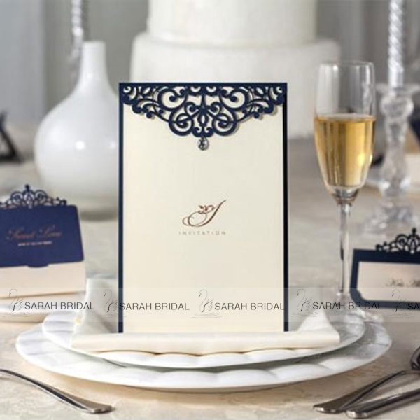 personalized ivory wedding invitation cards hollow out fashion