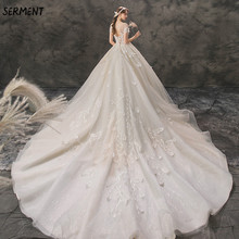 SERMENT Wedding Lace Halter Princess Bride Word Shoulder Luxury Imported Trailing Dress 2019 New