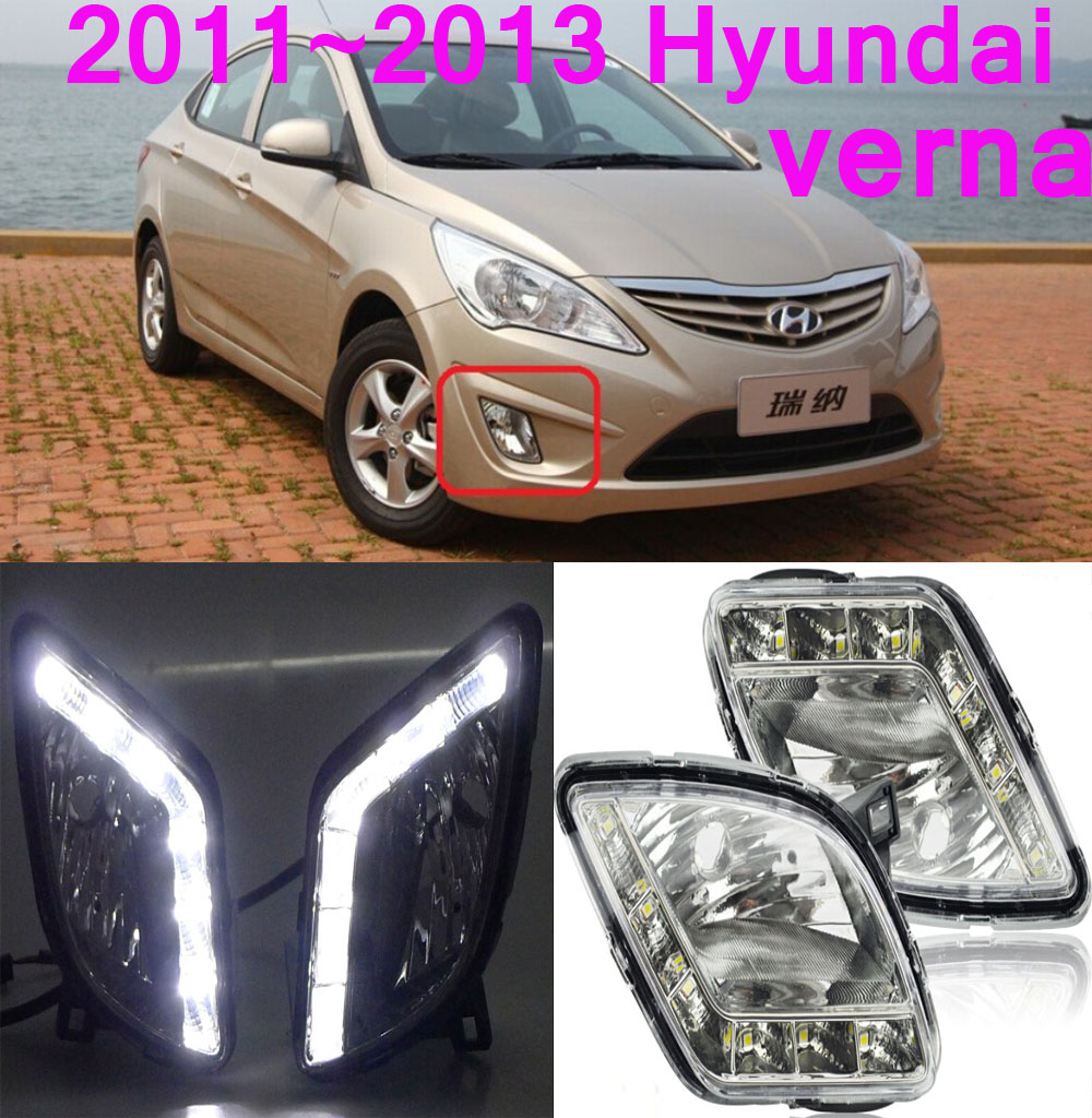 2012~2014 verna daytime light,tucson,santa fe,Elantra,Free ship to your door!accent,LED,verna fog light,2ps/set;solaris;ix35 accent verna solaris for hyundai led tail lamp 2011 2013 year red color yz
