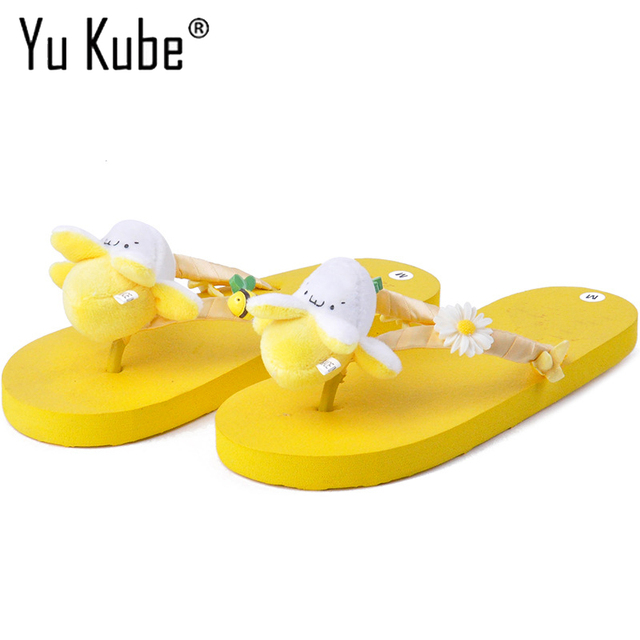 Yu kube бренд 2018 Новый Для женщин Шлёпанцы для женщин летние женские Повседневное слипоны Пляжные сланцы Животные украшения женские шлепанцы