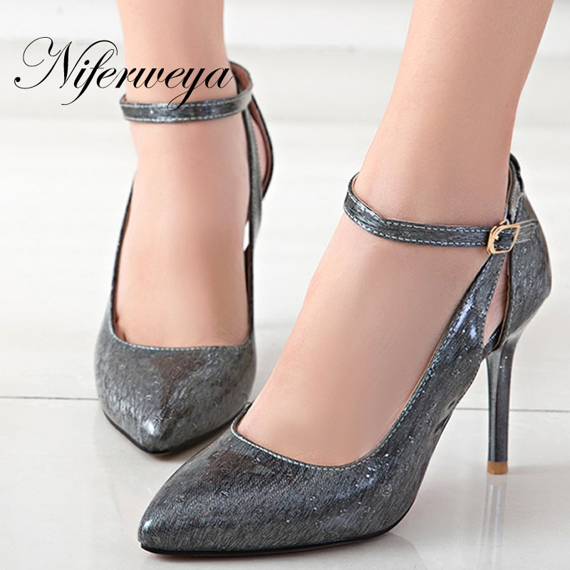 Fashion Ankle Strap women pumps Spring/Autumn Pointed Toe women shoes big size 32-48 sexy Buckle Strap thin heel high heels  цены онлайн