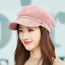 2018 Solid Winter Beret Hats for Girls Warm Corduroy Caps and Scarf Set Newsboy Dome Octagonal Soft Flat Cap Scarves Women