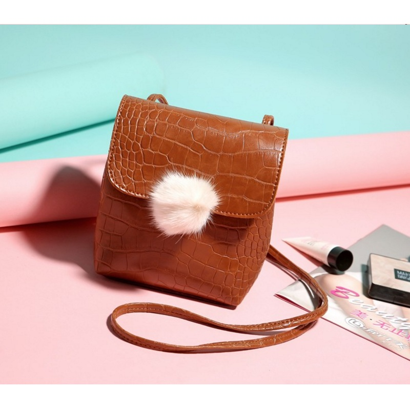 Women Serpentine Pattern Soft Flap Bag Fashion Fur Ball Shoulder Bags Girls Crossbody Bag Hairball Mini Phone Bag Tote Handbag in Shoulder Bags from Luggage Bags