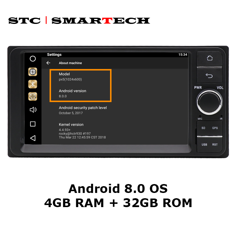 SMARTECH 2Din Android 8.0 Octa Core 4GB RAM 32GB ROM 7inch Car DVD Radio GPS navigation For Toyota Corolla Hilux Camry Prado-in Car Multimedia Player from Automobiles & Motorcycles    3