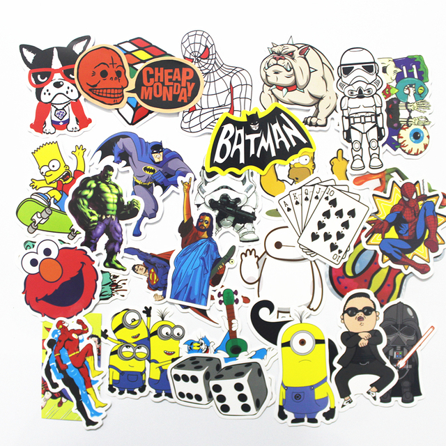 2017 NEW 300 Pcs  Mix Style Funny Cartoon Stickers FOR  Decal Fridge Doodle Snowboard Luggage Decor Jdm Brand Car Bike Moto Toys