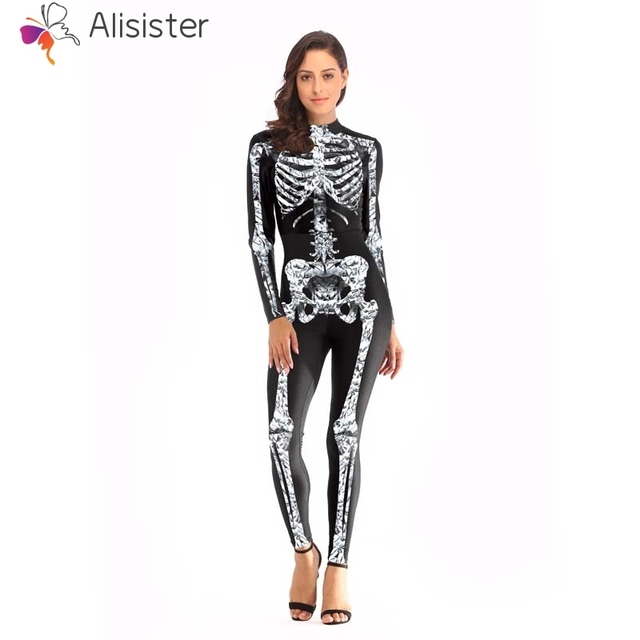 fc08567abd1 3D Skulls Bone Print Women Sexy Jumpsuit Halloween Costumes Black Bodysuit  Skeleton Womens Back Zipper Tight Jumpsuit