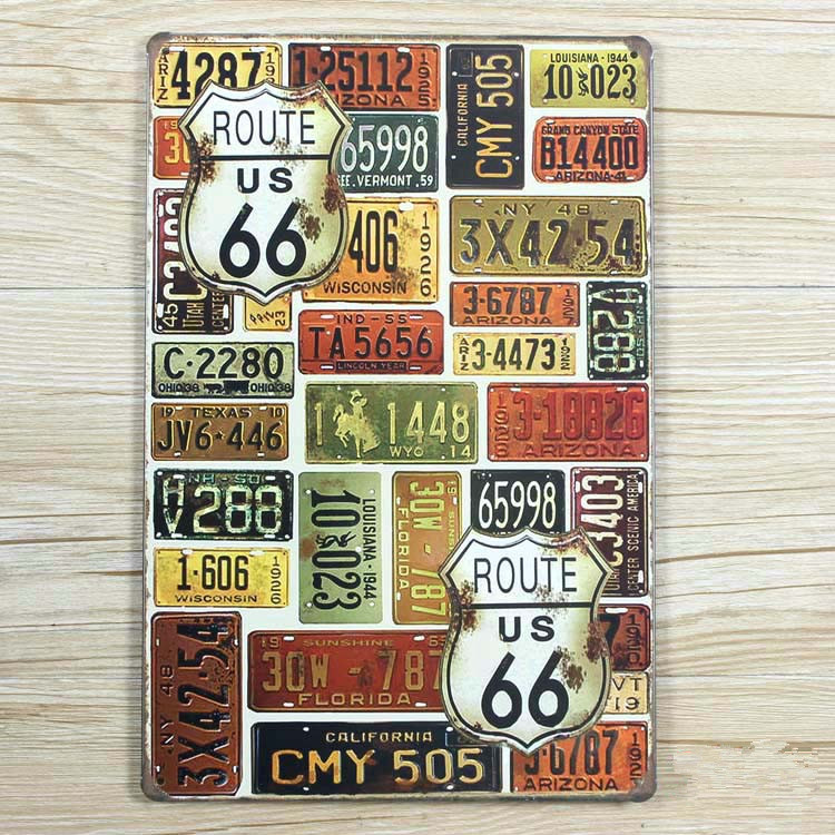 Metal Tin signs Art wall home decoration Vintage License plate route 66 metal wall art painting House Cafe Bar 20*30 CM hot sale