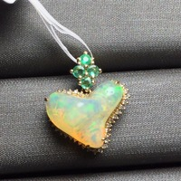 Fine Jewelry Real 18K Gold AU750 G18K Heart Natural 100% Opal Pendant Emearld Gold Diamond Pendant Gemstone Necklaces for Women