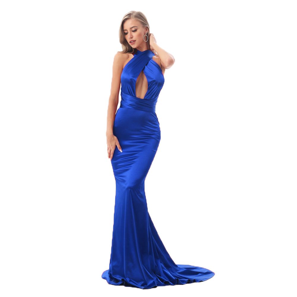 V cuello azul satinado brillante vestido largo DIY correas Bodycon espalda abierta elegante sirena vestido largo hasta el suelo vestido de fiesta elástico-in Vestidos from Ropa de mujer    1