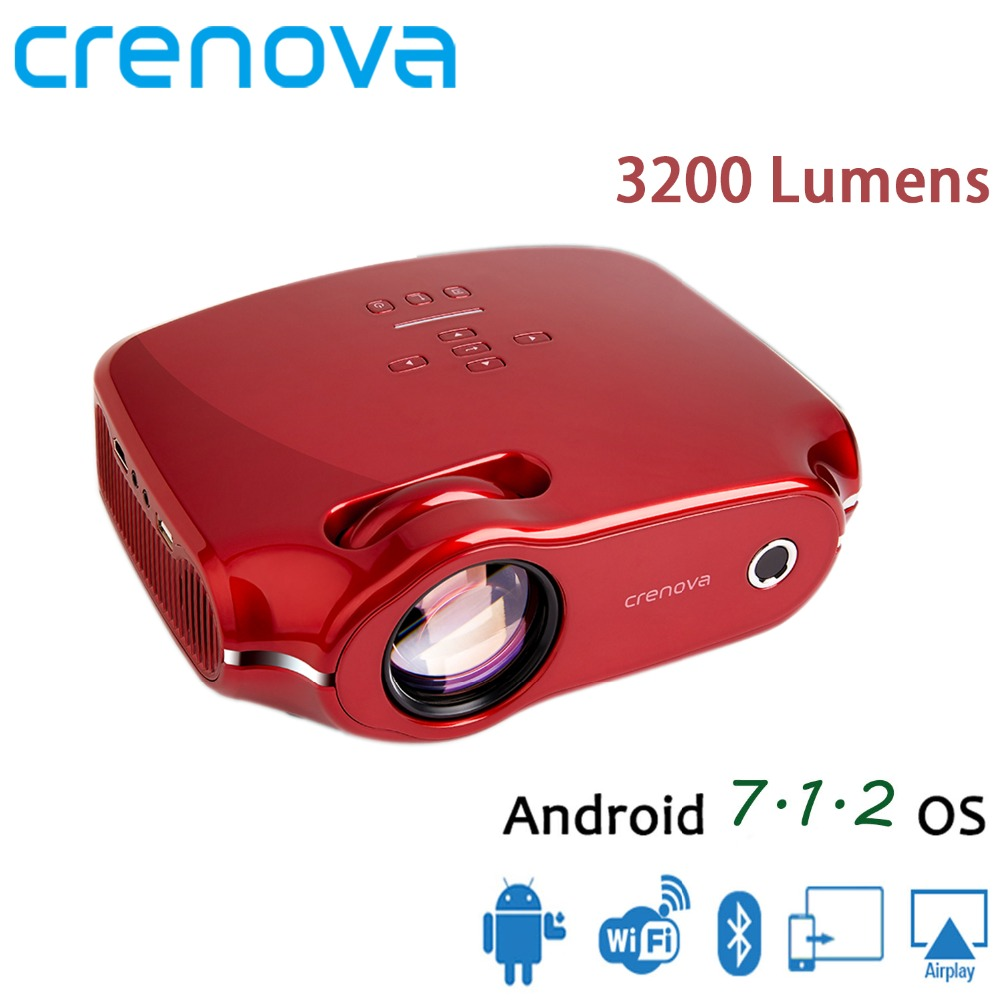 7.1.2 CRENOVA Mais Novo Android Projetor 3200 Lumens Android OS Home Theater Projetor de Cinema Para Full HD 1080 p Wifi Bluetooth