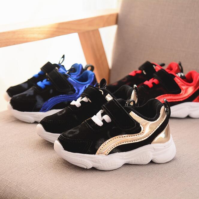 100% Wahr Jungen Sport Schuhe Atmungs Rot Blau Kinder Casual Schuhe Jungen Mädchen Mode Sneaker Schuhe Chaussure Enfant Garcon GläNzend