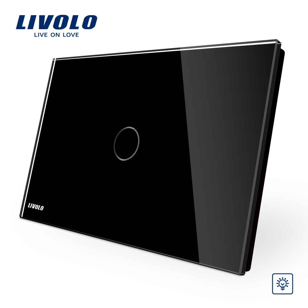 Livolo Black crystal panel , Home Light Dimmer Switch 1 Gang 1 Way VL-C901D-12, AU/US standard,touch dimmer switch smart home us au wall touch switch white crystal glass panel 1 gang 1 way power light wall touch switch used for led waterproof