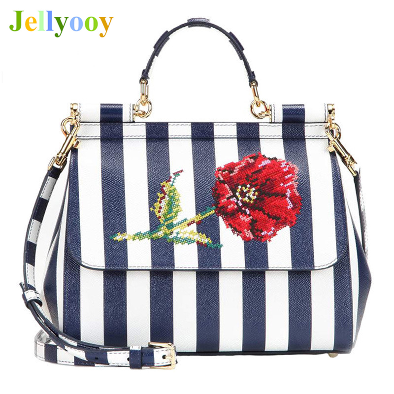 Luxury Italy Brand Sicily Ethnic Floral Bag Genuine Leather Casual Tote Platinum Bag Lady Shoulder Messenger Bags Bolsa Sac 25CM luxury italy brand sicily ethnic bag genuine leather women casual tote platinum bags star moon print lady shoulder messenger bag