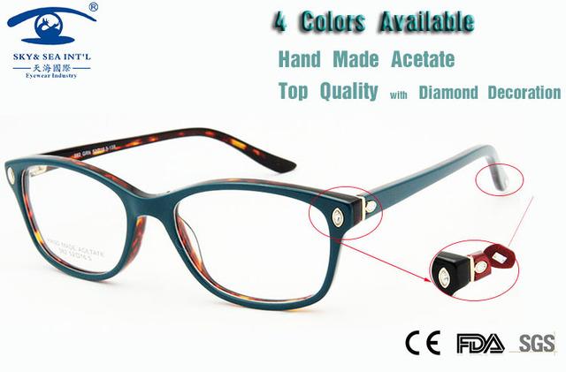 Mulheres Óculos de Armação de Diamantes De Luxo Itália Projeto Qualidade Miopia óculos de Computador Oculos de grau Femininos Marca Original Novo 2015