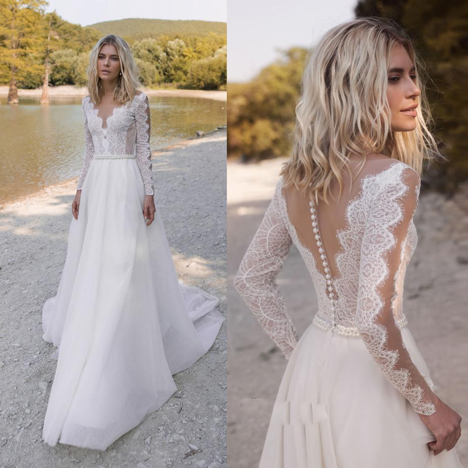 2019 Bohemian Wedding Dresses V Neck Long Sleeve Lace Appliques Beads Bridal Gowns A Line Wedding Dress Robe De Mariee