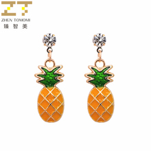 Hot New Fashion Dangling Long Statement Crystal Fruit Pineapple Drop Earrings For Women Jewelry Wholesale 2017 Gift